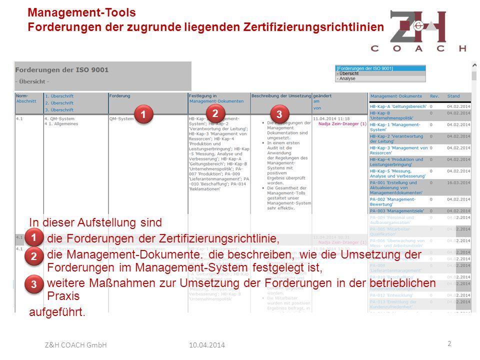 Management-Tools Forderungen der zugrunde liegenden Zertifizierungsrichtlinien In dieser Aufstellung sind 1.die Forderungen der Zertifizierungsrichtlinie, 2.die Management-Dokumente.