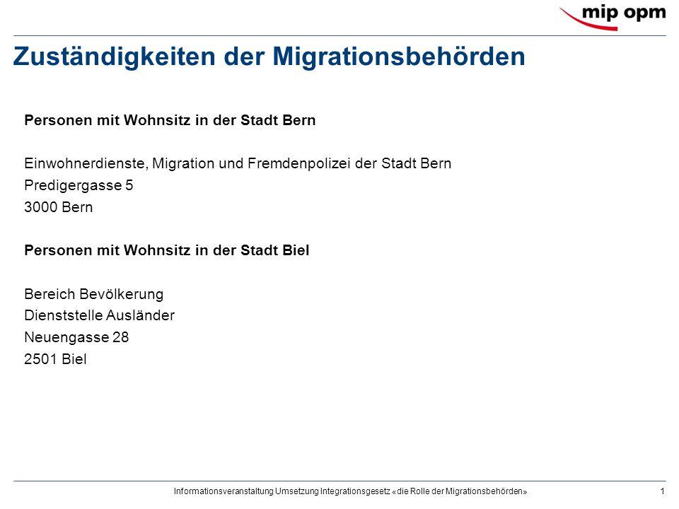 Informationsveranstaltung Umsetzung Integrationsgesetz «die Rolle der Migrationsbehörden»1 Zuständigkeiten der Migrationsbehörden Personen mit Wohnsit