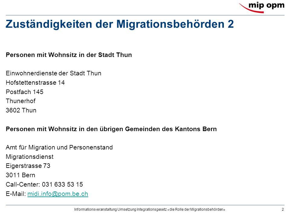 Informationsveranstaltung Umsetzung Integrationsgesetz «die Rolle der Migrationsbehörden»2 Zuständigkeiten der Migrationsbehörden 2 Personen mit Wohns