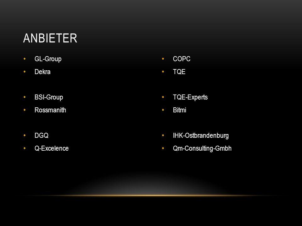 GL-Group Dekra BSI-Group Rossmanith DGQ Q-Excelence COPC TQE TQE-Experts Bitmi IHK-Ostbrandenburg Qm-Consulting-Gmbh ANBIETER