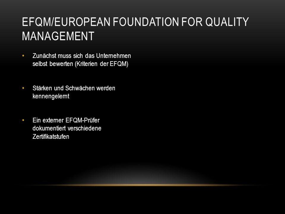 Zunächst muss sich das Unternehmen selbst bewerten (Kriterien der EFQM) Stärken und Schwächen werden kennengelernt Ein externer EFQM-Prüfer dokumentie