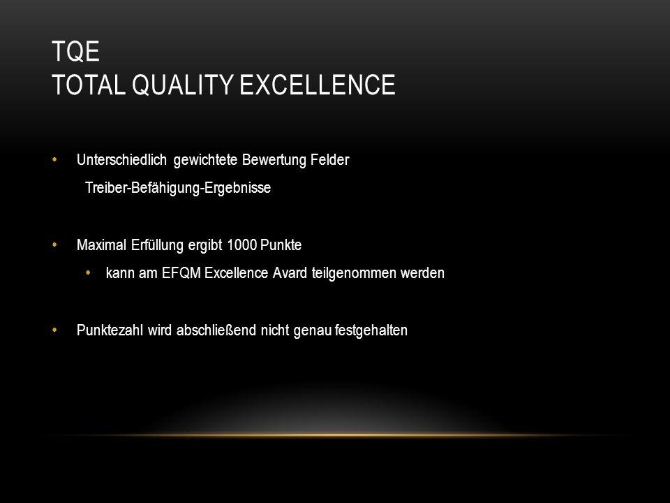 TQE TOTAL QUALITY EXCELLENCE Unterschiedlich gewichtete Bewertung Felder Treiber-Befähigung-Ergebnisse Maximal Erfüllung ergibt 1000 Punkte kann am EF