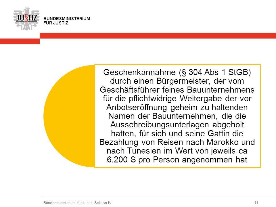 BUNDESMINISTERIUM FÜR JUSTIZ Geschenkannahme (§ 304 Abs 1 StGB) durch einen Bürgermeister, der vom Geschäftsführer feines Bauunternehmens für die pfli