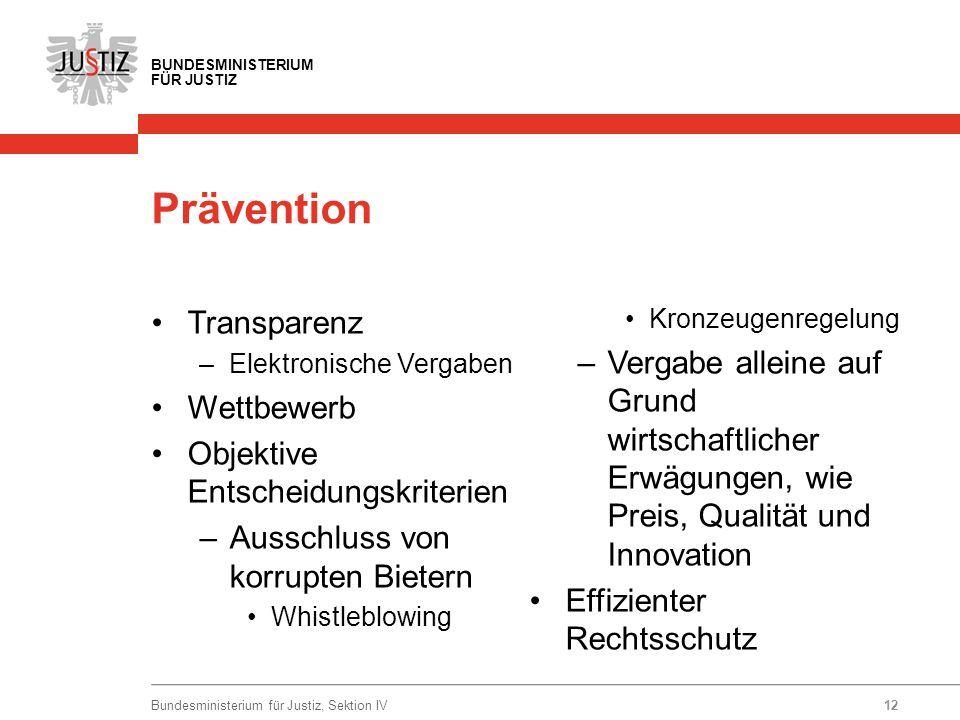 BUNDESMINISTERIUM FÜR JUSTIZ Prävention Transparenz –Elektronische Vergaben Wettbewerb Objektive Entscheidungskriterien –Ausschluss von korrupten Biet