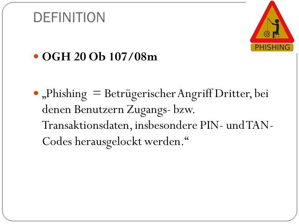 """DEFINITION OGH 20 Ob 107/08m """"Phishing = Betrügerischer Angriff Dritter, bei denen Benutzern Zugangs- bzw. Transaktionsdaten, insbesondere PIN- und TA"""