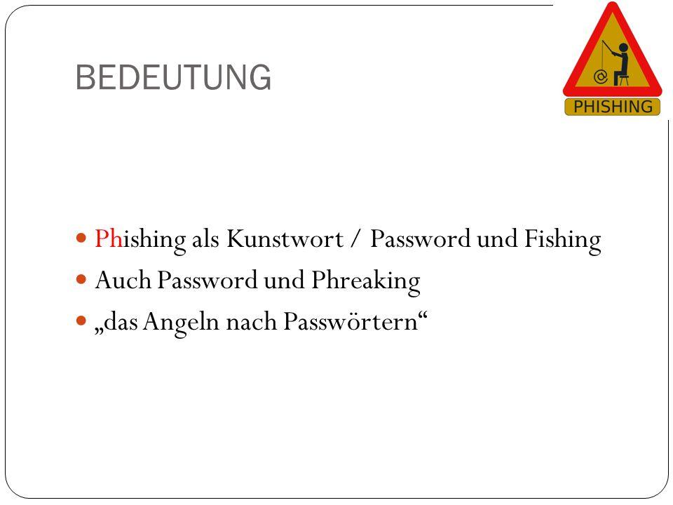 """BEDEUTUNG Phishing als Kunstwort / Password und Fishing Auch Password und Phreaking """"das Angeln nach Passwörtern"""""""