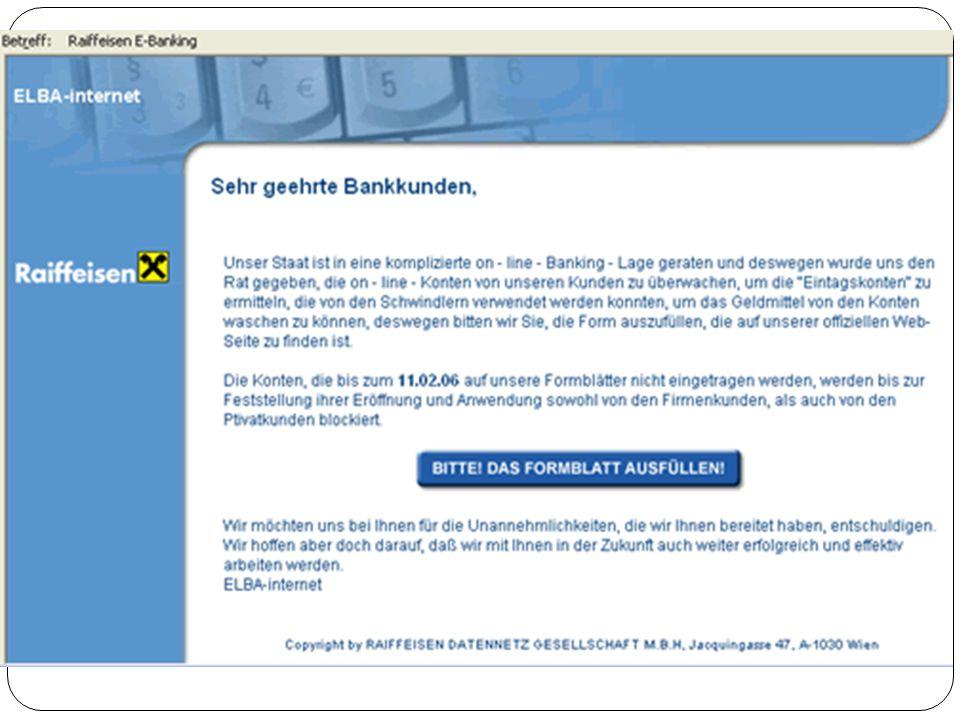 """Schutzmaßnahmen Funktion Netbanking (TAN, i-TAN…) Keine Antwort auf """"verdächtige Mails Sicheres Passwort Verschiedene Passwörter Nicht zu viele persönliche Daten veröffentlichen"""