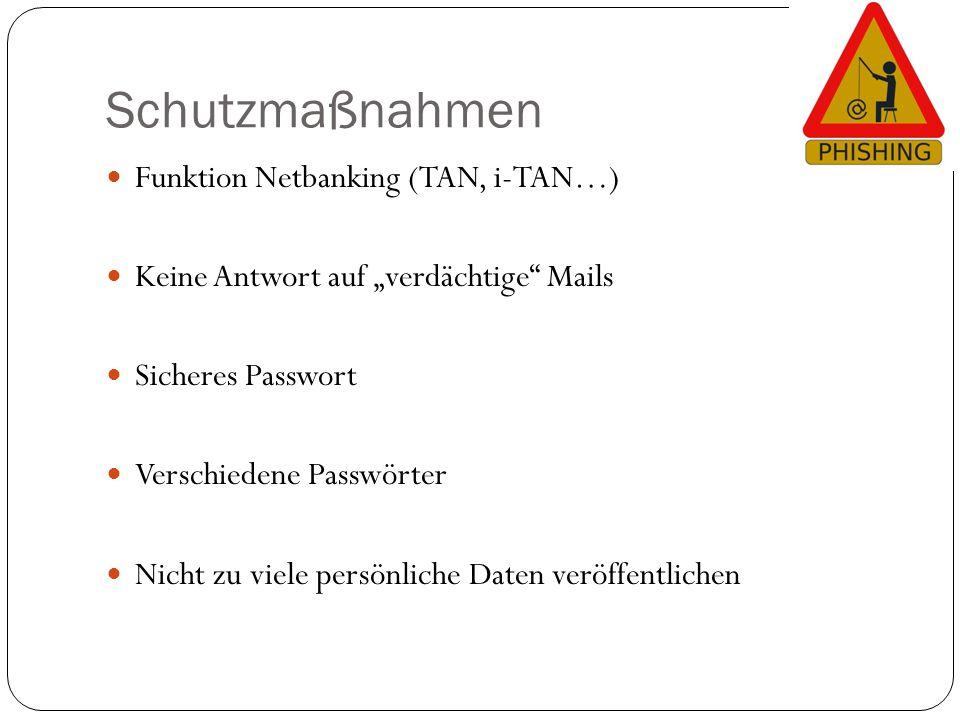 """Schutzmaßnahmen Funktion Netbanking (TAN, i-TAN…) Keine Antwort auf """"verdächtige"""" Mails Sicheres Passwort Verschiedene Passwörter Nicht zu viele persö"""