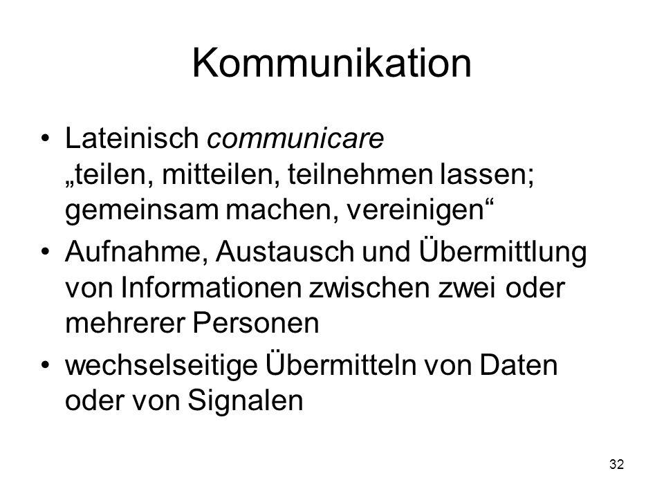 """Kommunikation Lateinisch communicare """"teilen, mitteilen, teilnehmen lassen; gemeinsam machen, vereinigen"""" Aufnahme, Austausch und Übermittlung von Inf"""
