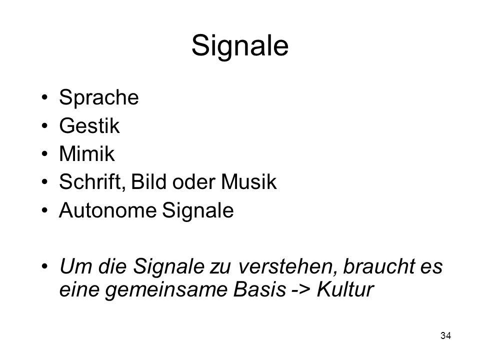 Signale Sprache Gestik Mimik Schrift, Bild oder Musik Autonome Signale Um die Signale zu verstehen, braucht es eine gemeinsame Basis -> Kultur 34
