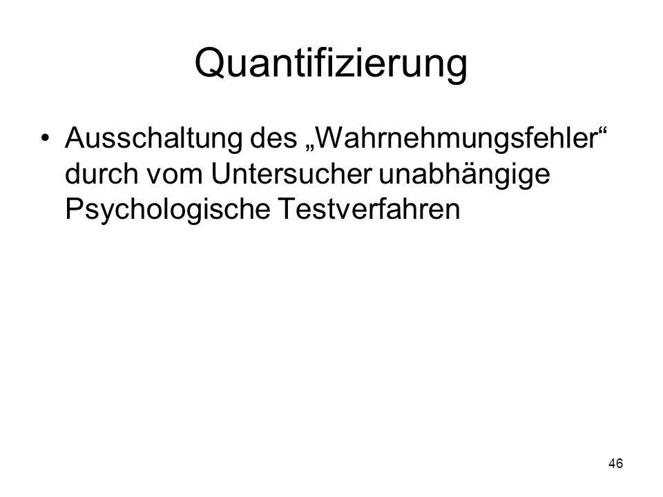 """Quantifizierung Ausschaltung des """"Wahrnehmungsfehler"""" durch vom Untersucher unabhängige Psychologische Testverfahren 46"""