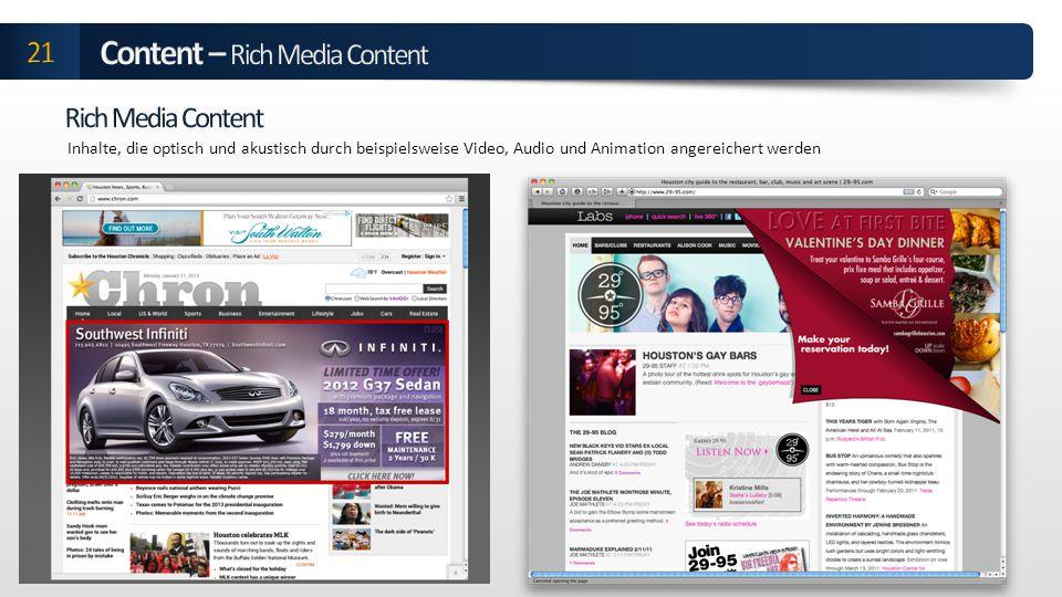 Inhalte, die optisch und akustisch durch beispielsweise Video, Audio und Animation angereichert werden