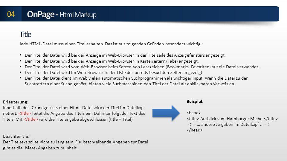Teil der Metaangaben von Webdokumenten die im Head-Bereich eines HTML-Dokumentes als Meta-Tag notiert werden wird immer dann angezeigt, wenn ein Nutzer eine Suchanfrage startet und die Ergebnisliste von Suchmaschinen betrachtet Ziel liegt darin, dem User einen Hinweis auf den Inhalt der URL zu geben -> Daher findet man oft eine direkte Kundenansprache, kurze Stichworte oder vertrauenswürdiges Zertifikate, Gütesiegel und Bewertungssterne, die den Inhalt der URL bewerben Meta Descriptions beeinflussen aufgrund einer Änderung der Google Algorithmen heute nicht mehr das Ranking von Webseiten, sondern werden lediglich dafür eingesetzt um die Click Through Rate bzw.