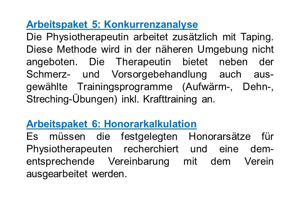 Arbeitspaket 5: Konkurrenzanalyse Die Physiotherapeutin arbeitet zusätzlich mit Taping.