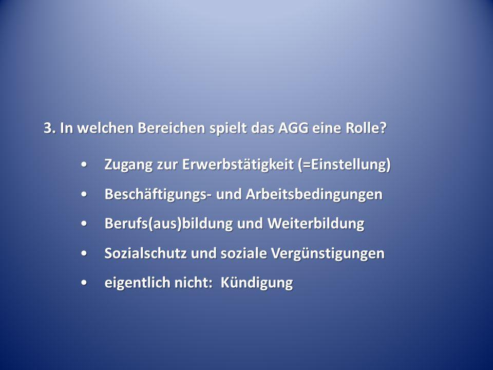 3. In welchen Bereichen spielt das AGG eine Rolle? Zugang zur Erwerbstätigkeit (=Einstellung)Zugang zur Erwerbstätigkeit (=Einstellung) Beschäftigungs