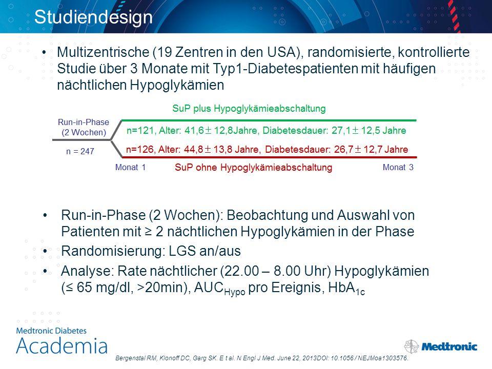 Studiendesign Run-in-Phase (2 Wochen): Beobachtung und Auswahl von Patienten mit ≥ 2 nächtlichen Hypoglykämien in der Phase Randomisierung: LGS an/aus Analyse: Rate nächtlicher (22.00 – 8.00 Uhr) Hypoglykämien (≤ 65 mg/dl, >20min), AUC Hypo pro Ereignis, HbA 1c Multizentrische (19 Zentren in den USA), randomisierte, kontrollierte Studie über 3 Monate mit Typ1-Diabetespatienten mit häufigen nächtlichen Hypoglykämien Bergenstal RM, Klonoff DC, Garg SK.