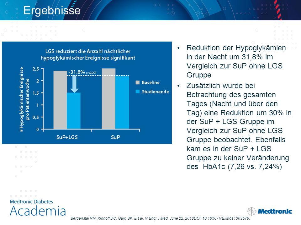 Ergebnisse Reduktion der Hypoglykämien in der Nacht um 31,8% im Vergleich zur SuP ohne LGS Gruppe Zusätzlich wurde bei Betrachtung des gesamten Tages (Nacht und über den Tag) eine Reduktion um 30% in der SuP + LGS Gruppe im Vergleich zur SuP ohne LGS Gruppe beobachtet.