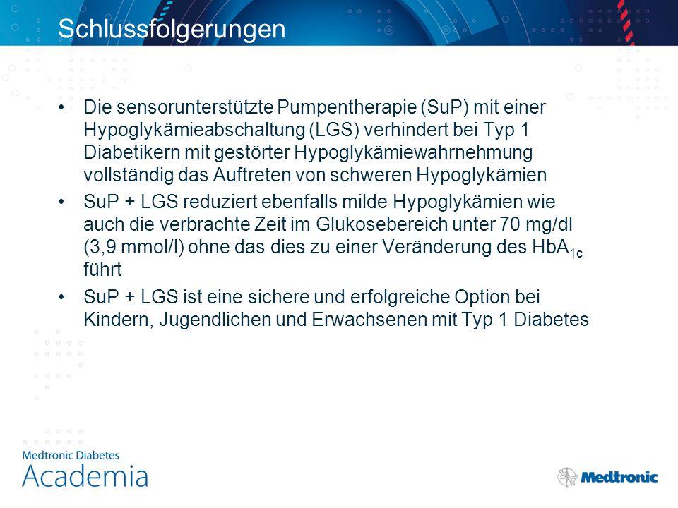 Schlussfolgerungen Die sensorunterstützte Pumpentherapie (SuP) mit einer Hypoglykämieabschaltung (LGS) verhindert bei Typ 1 Diabetikern mit gestörter Hypoglykämiewahrnehmung vollständig das Auftreten von schweren Hypoglykämien SuP + LGS reduziert ebenfalls milde Hypoglykämien wie auch die verbrachte Zeit im Glukosebereich unter 70 mg/dl (3,9 mmol/l) ohne das dies zu einer Veränderung des HbA 1c führt SuP + LGS ist eine sichere und erfolgreiche Option bei Kindern, Jugendlichen und Erwachsenen mit Typ 1 Diabetes
