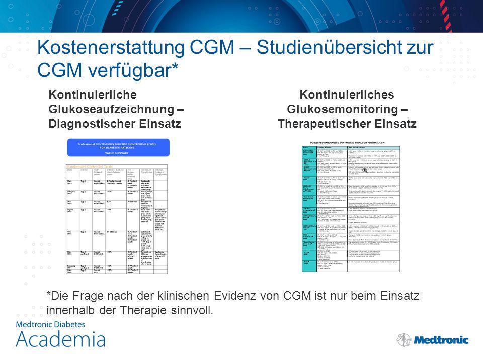 Kostenerstattung CGM – Studienübersicht zur CGM verfügbar* Kontinuierliche Glukoseaufzeichnung – Diagnostischer Einsatz Kontinuierliches Glukosemonitoring – Therapeutischer Einsatz *Die Frage nach der klinischen Evidenz von CGM ist nur beim Einsatz innerhalb der Therapie sinnvoll.