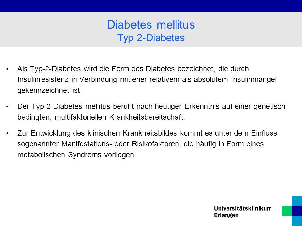 Als Typ-2-Diabetes wird die Form des Diabetes bezeichnet, die durch Insulinresistenz in Verbindung mit eher relativem als absolutem Insulinmangel gekennzeichnet ist.