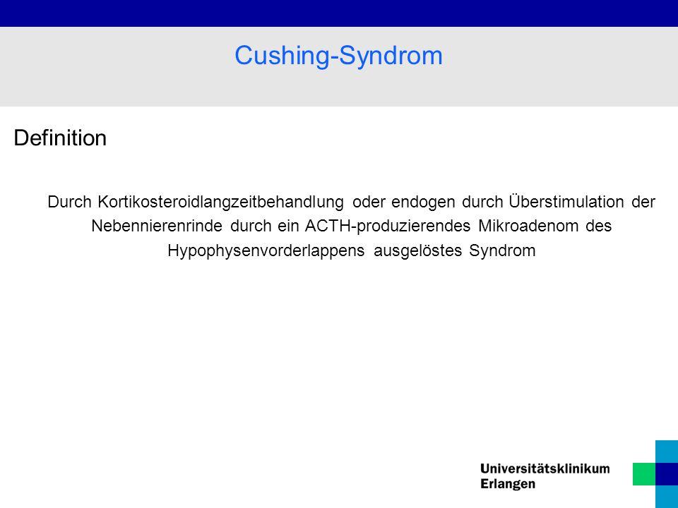 Definition Durch Kortikosteroidlangzeitbehandlung oder endogen durch Überstimulation der Nebennierenrinde durch ein ACTH-produzierendes Mikroadenom des Hypophysenvorderlappens ausgelöstes Syndrom Cushing-Syndrom