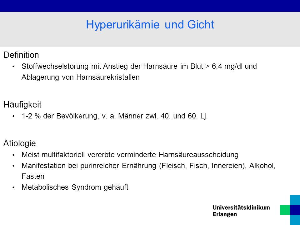 Definition Stoffwechselstörung mit Anstieg der Harnsäure im Blut > 6,4 mg/dl und Ablagerung von Harnsäurekristallen Häufigkeit 1-2 % der Bevölkerung, v.