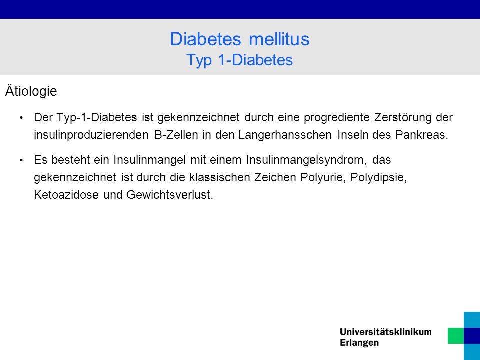 Ätiologie Der Typ-1-Diabetes ist gekennzeichnet durch eine progrediente Zerstörung der insulinproduzierenden B-Zellen in den Langerhansschen Inseln des Pankreas.