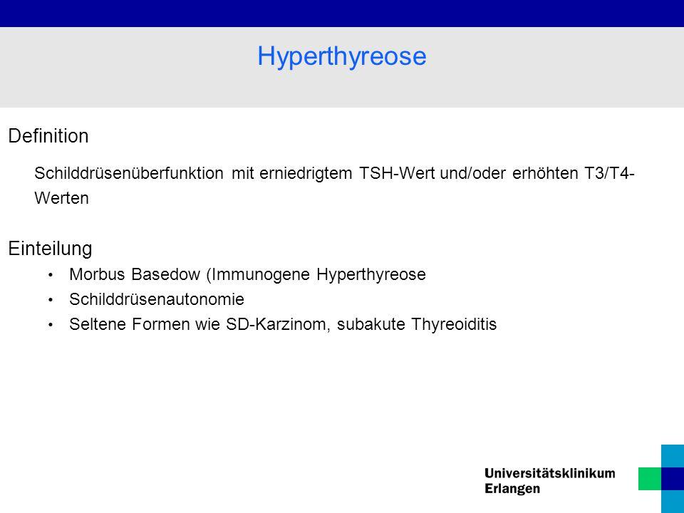 Definition Schilddrüsenüberfunktion mit erniedrigtem TSH-Wert und/oder erhöhten T3/T4- Werten Einteilung Morbus Basedow (Immunogene Hyperthyreose Schilddrüsenautonomie Seltene Formen wie SD-Karzinom, subakute Thyreoiditis Hyperthyreose