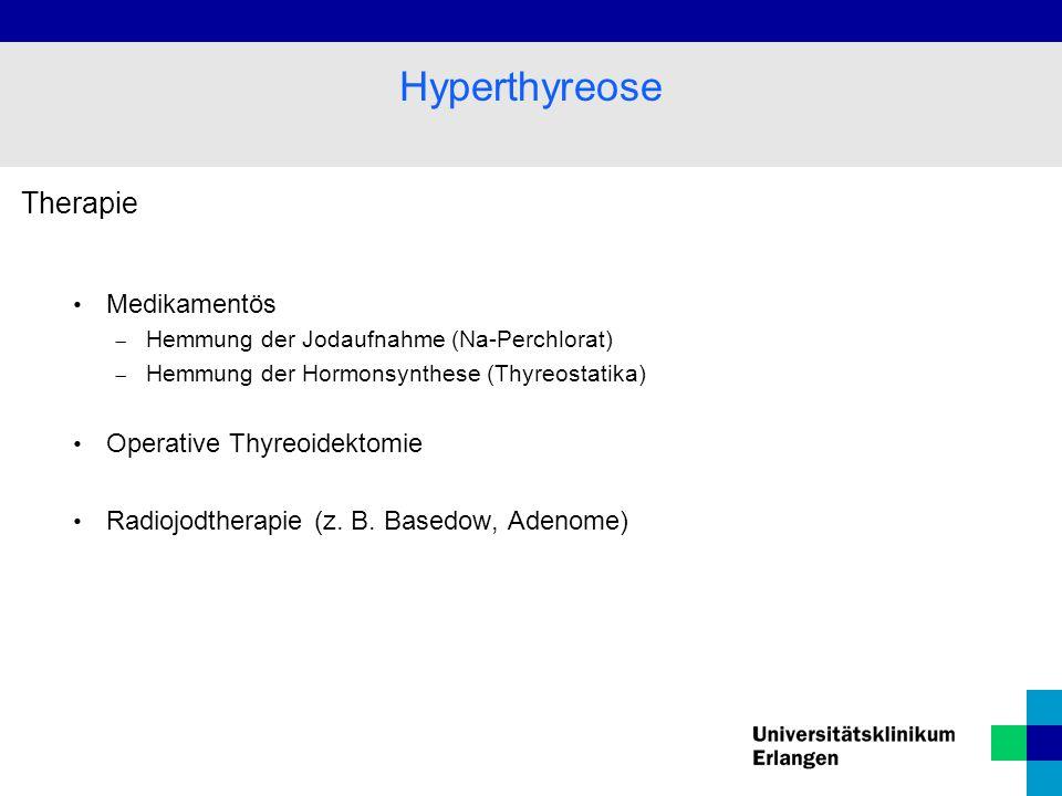 Therapie Medikamentös  Hemmung der Jodaufnahme (Na-Perchlorat)  Hemmung der Hormonsynthese (Thyreostatika) Operative Thyreoidektomie Radiojodtherapie (z.
