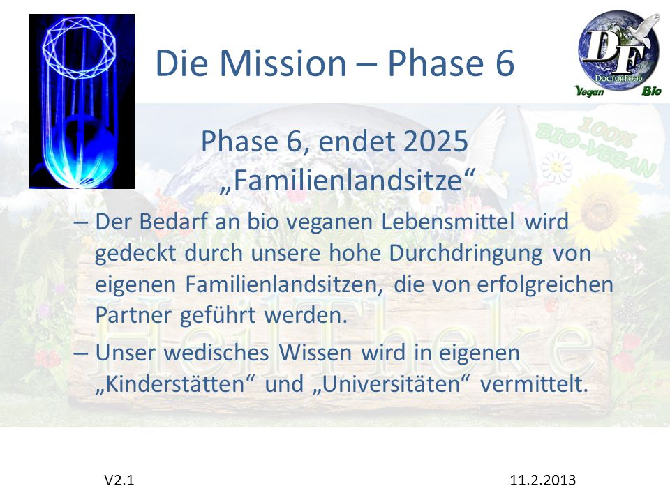 """Die Mission – Phase 6 Phase 6, endet 2025 """"Familienlandsitze – Der Bedarf an bio veganen Lebensmittel wird gedeckt durch unsere hohe Durchdringung von eigenen Familienlandsitzen, die von erfolgreichen Partner geführt werden."""