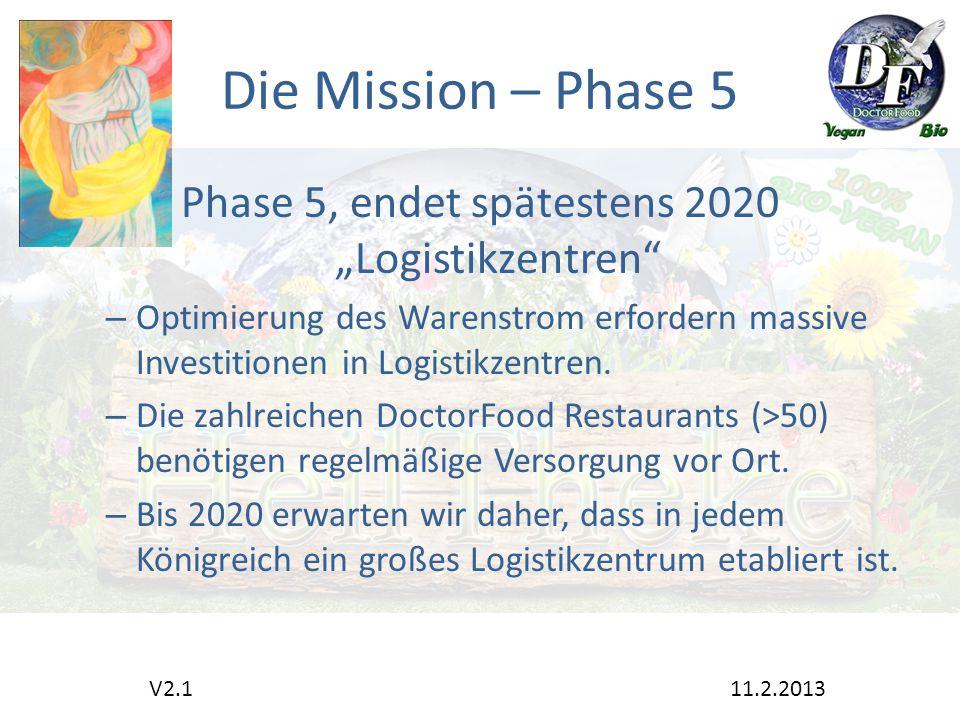 """Die Mission – Phase 5 Phase 5, endet spätestens 2020 """"Logistikzentren – Optimierung des Warenstrom erfordern massive Investitionen in Logistikzentren."""