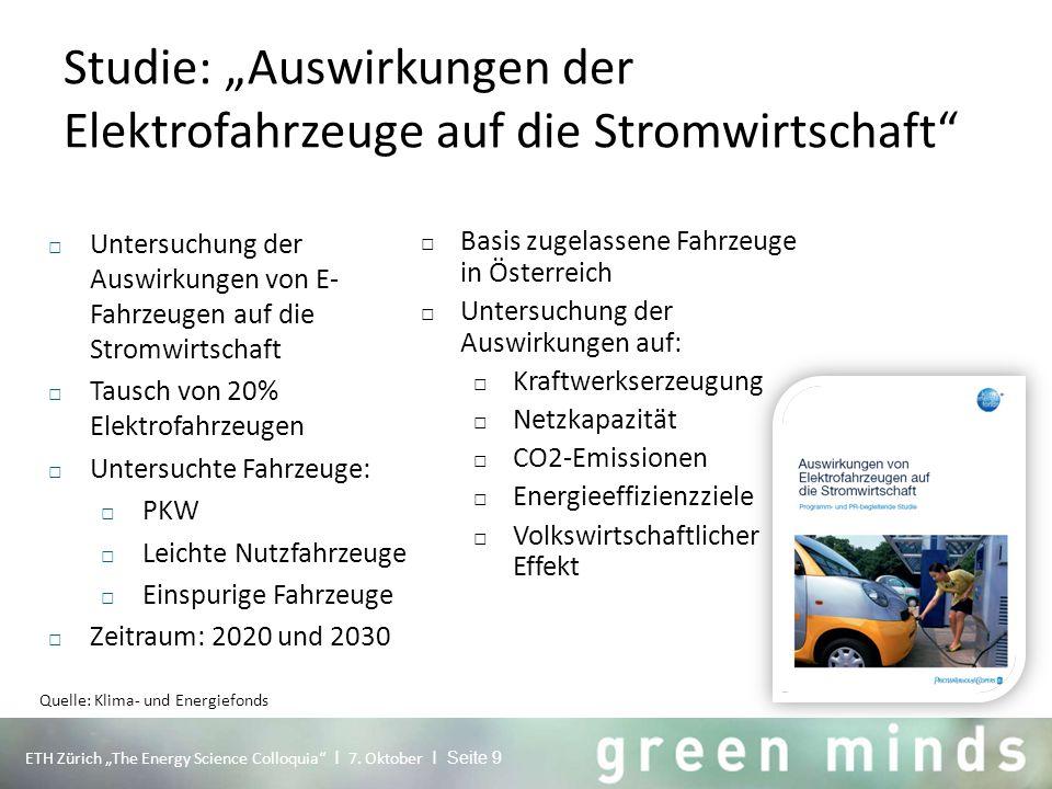 """Studie: """"Auswirkungen der Elektrofahrzeuge auf die Stromwirtschaft"""" ETH Zürich """"The Energy Science Colloquia"""" I 7. Oktober I Seite 9 □ Untersuchung de"""