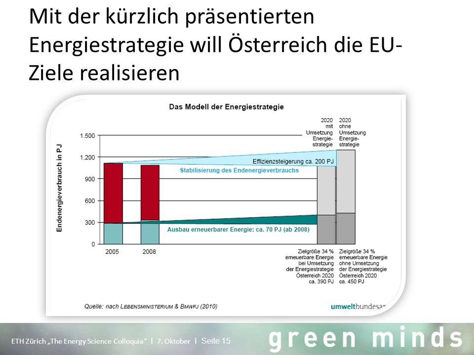 """Mit der kürzlich präsentierten Energiestrategie will Österreich die EU- Ziele realisieren ETH Zürich """"The Energy Science Colloquia"""" I 7. Oktober I Sei"""