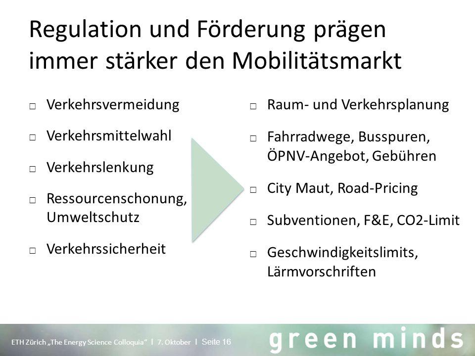 """Regulation und Förderung prägen immer stärker den Mobilitätsmarkt ETH Zürich """"The Energy Science Colloquia"""" I 7. Oktober I Seite 16 □ Verkehrsvermeidu"""