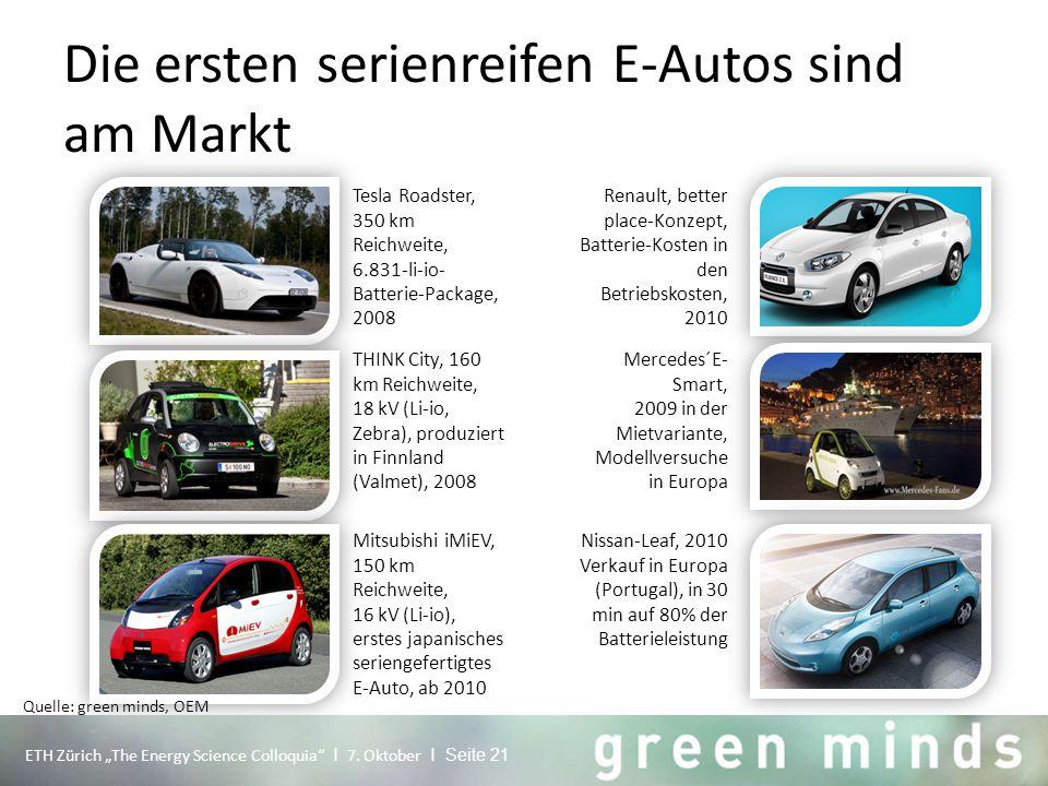 """Die ersten serienreifen E-Autos sind am Markt Tesla Roadster, 350 km Reichweite, 6.831-li-io- Batterie-Package, 2008 ETH Zürich """"The Energy Science Co"""
