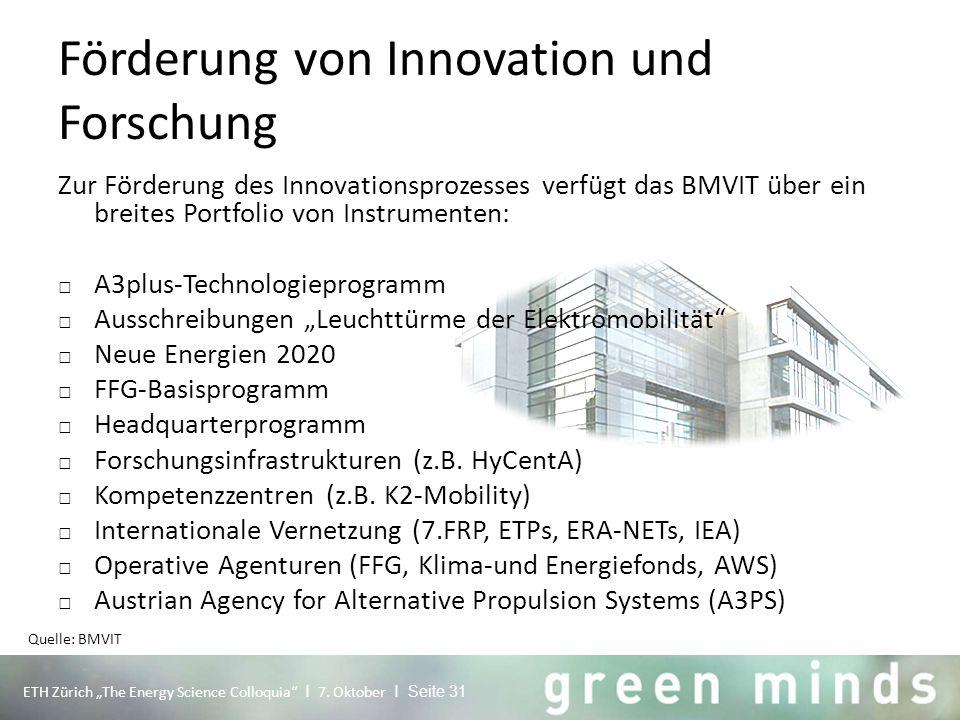 Förderung von Innovation und Forschung Zur Förderung des Innovationsprozesses verfügt das BMVIT über ein breites Portfolio von Instrumenten: □ A3plus-