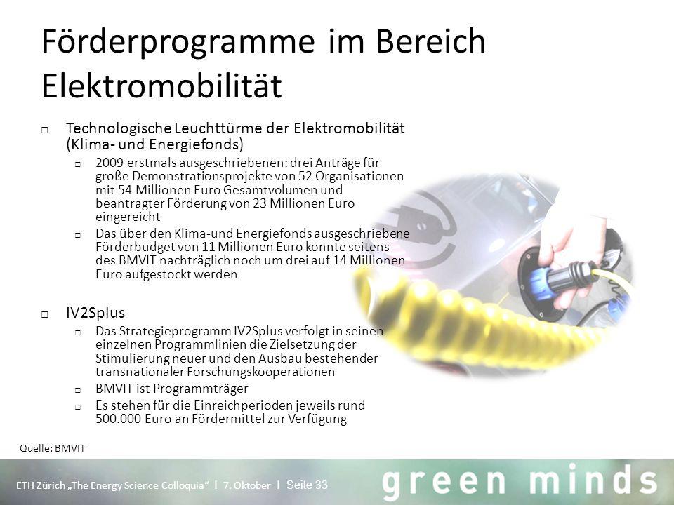 """Förderprogramme im Bereich Elektromobilität ETH Zürich """"The Energy Science Colloquia"""" I 7. Oktober I Seite 33 □ Technologische Leuchttürme der Elektro"""