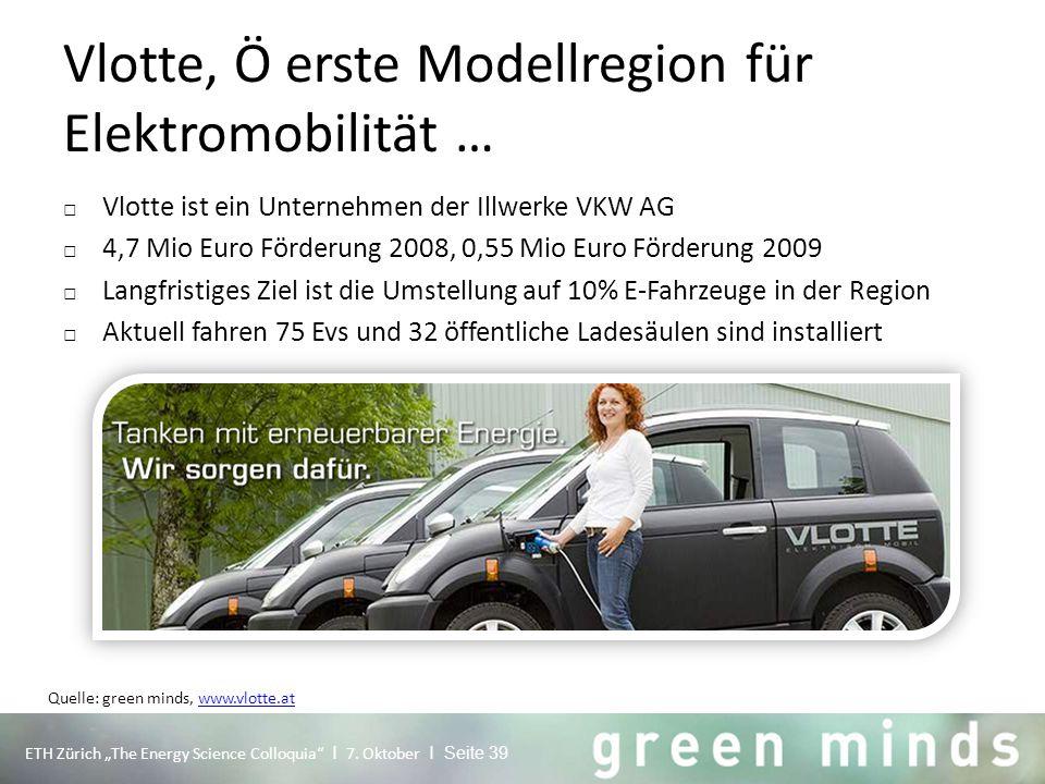 Vlotte, Ö erste Modellregion für Elektromobilität … □ Vlotte ist ein Unternehmen der Illwerke VKW AG □ 4,7 Mio Euro Förderung 2008, 0,55 Mio Euro Förd