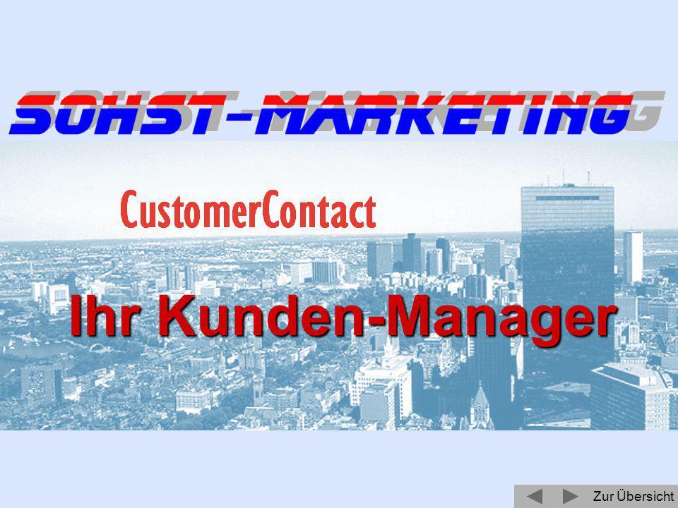 Zur Übersicht Ihr Partner für Kundenkommunikation und Marketing Präsentiert Ihnen: Ihr Kunden-Manager Betätigen Sie bitte F5 um die Vorführung zu starten