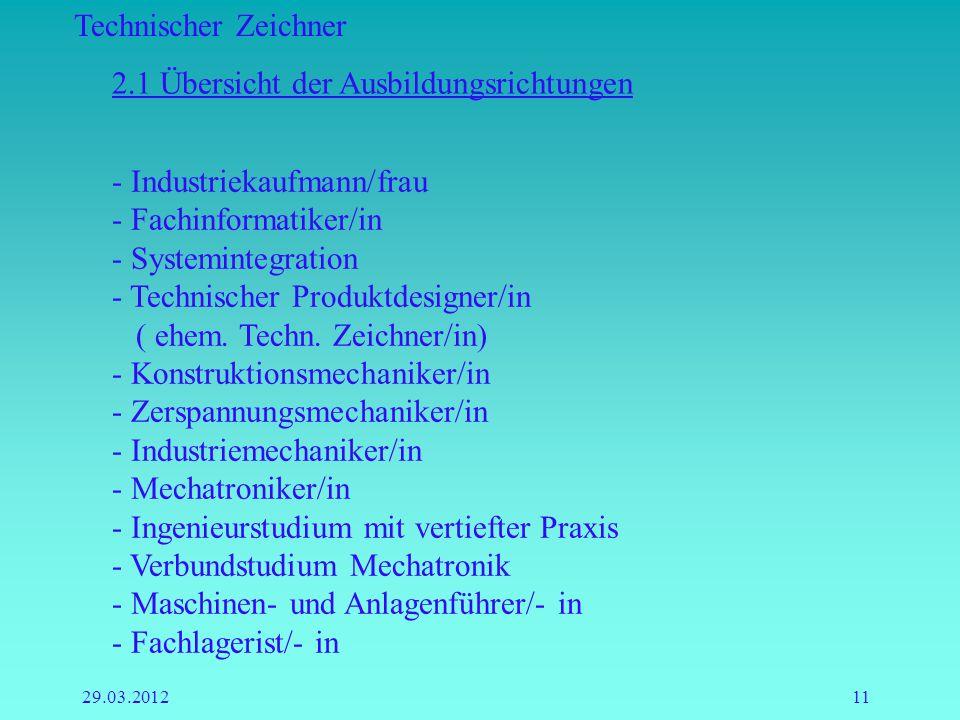Technischer Zeichner 29.03.201211 2.1 Übersicht der Ausbildungsrichtungen - Industriekaufmann/frau - Fachinformatiker/in - Systemintegration - Technis