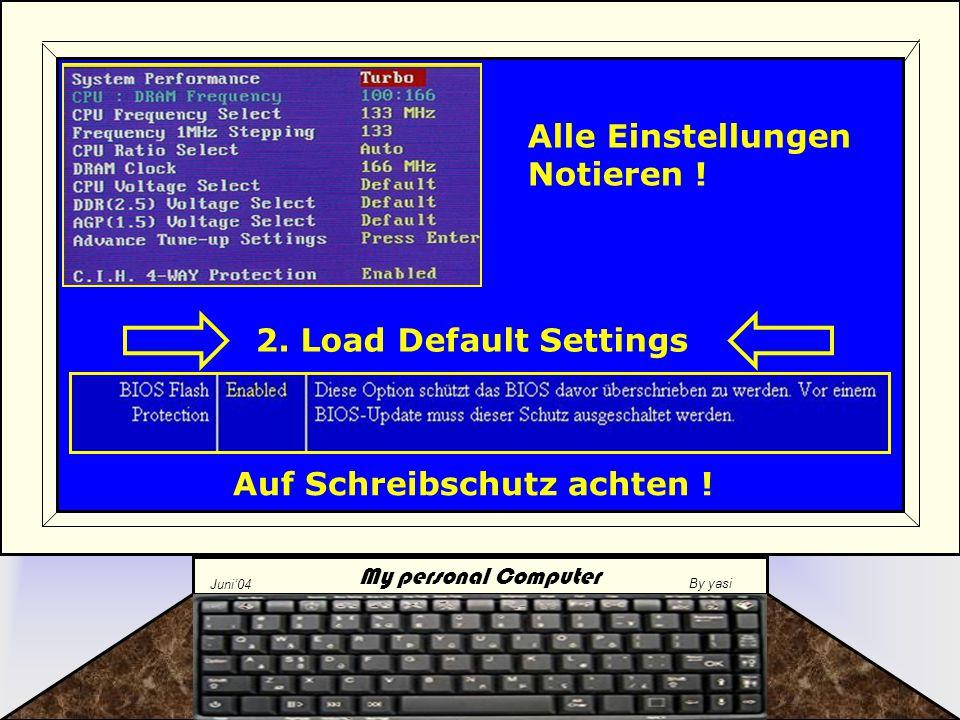 My personal Computer Juni'04 By yasi 3.Vorbereitungen im Windows treffen –D–Datensicherung für alle Fälle..