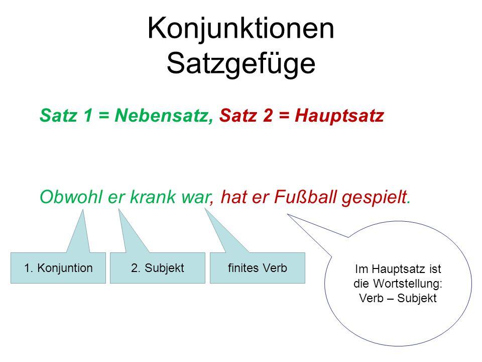 Konjunktionen Satzgefüge Satz 1 = Nebensatz, Satz 2 = Hauptsatz Obwohl er krank war, hat er Fußball gespielt. 1. Konjuntion 2. Subjekt finites Verb Im