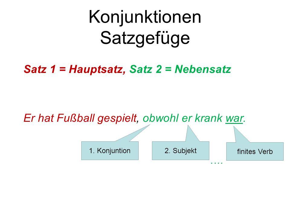 Konjunktionen Satzgefüge Satz 1 = Hauptsatz, Satz 2 = Nebensatz Er hat Fußball gespielt, obwohl er krank war..… 1. Konjuntion 2. Subjekt finites Verb