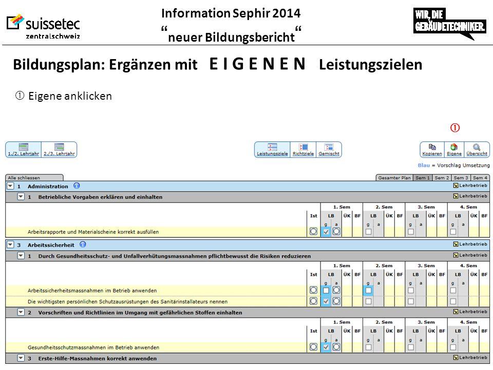 """Information Sephir 2014 """" neuer Bildungsbericht """"  Eigene anklicken  Bildungsplan: Ergänzen mit E I G E N E N Leistungszielen"""