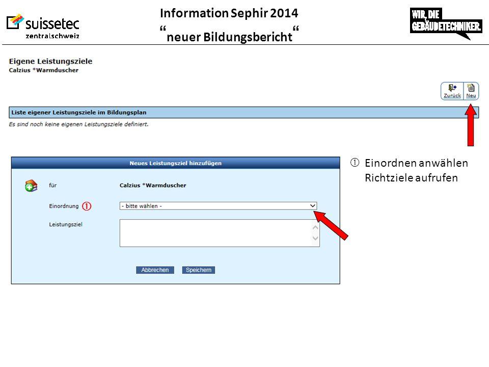 """Information Sephir 2014 """" neuer Bildungsbericht """"  Einordnen anwählen Richtziele aufrufen """
