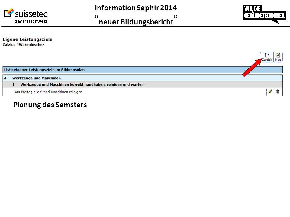 """Information Sephir 2014 """" neuer Bildungsbericht """" Planung des Semsters"""