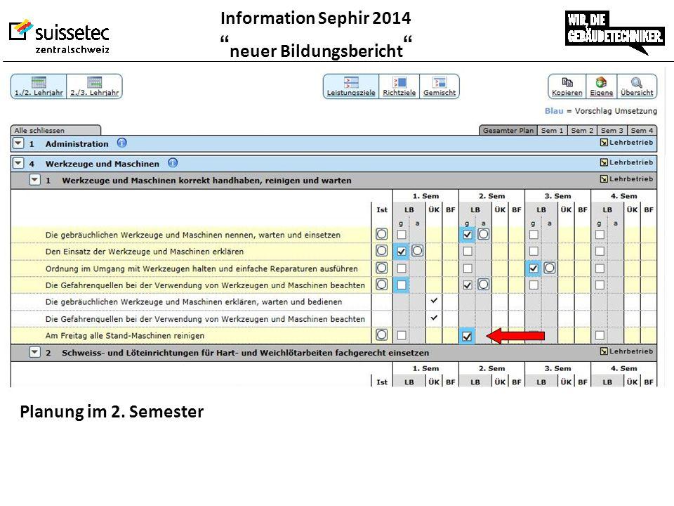 """Information Sephir 2014 """" neuer Bildungsbericht """" Planung im 2. Semester"""