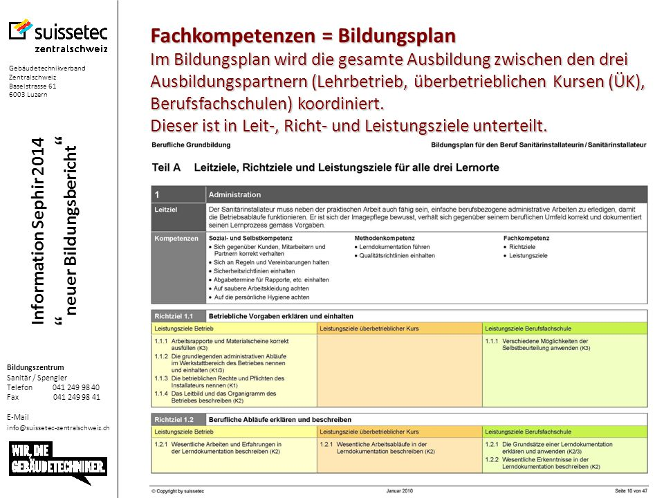 Information Sephir 2014 neuer Bildungsbericht Planung des Semsters