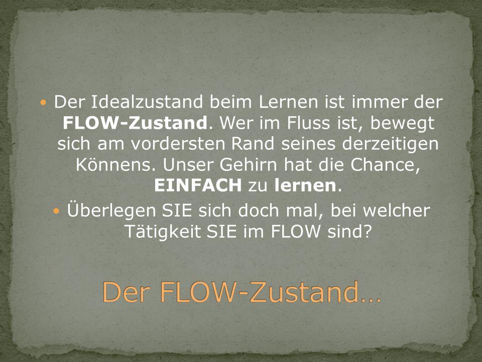 Der Idealzustand beim Lernen ist immer der FLOW-Zustand. Wer im Fluss ist, bewegt sich am vordersten Rand seines derzeitigen Könnens. Unser Gehirn hat