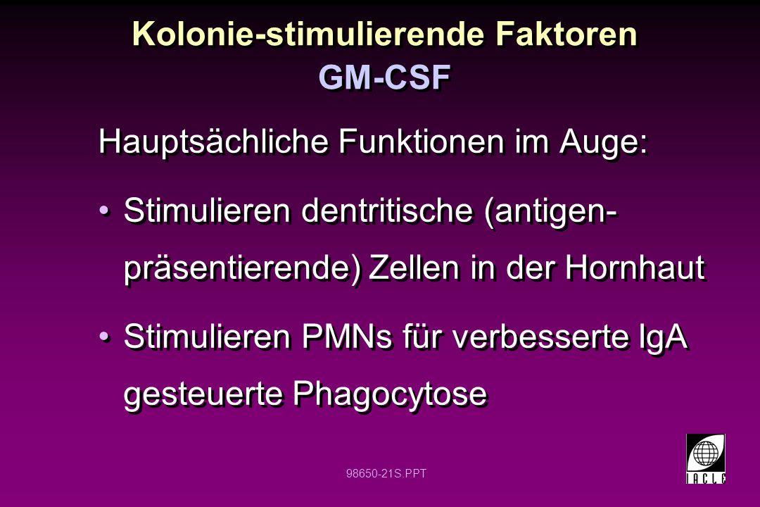 98650-21S.PPT Kolonie-stimulierende Faktoren Hauptsächliche Funktionen im Auge: Stimulieren dentritische (antigen- präsentierende) Zellen in der Hornh
